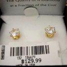 Solid 14K Gold Diamond Cubic Zirconia Earrings 2 carats 8mm 129.00$ ! Jewelry