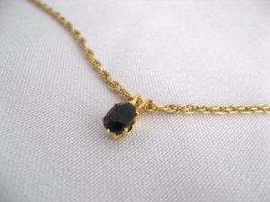 14k Gold Plated Deep Blue GENUINE SAPPHIRE gemstone necklace