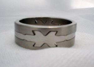 Mens stainless steel puzzle jewelry ring band with  X design 11