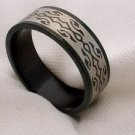 Mens black stainless steel jewelry ring band engagement or casual size 12