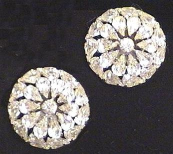 Large Pear-Cut Rhinestone Earrings Signed Weiss