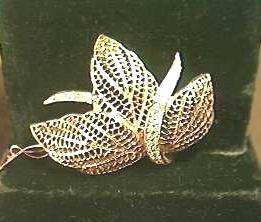 SIGNED Leaf BROOCH Pin w RHINESTONES