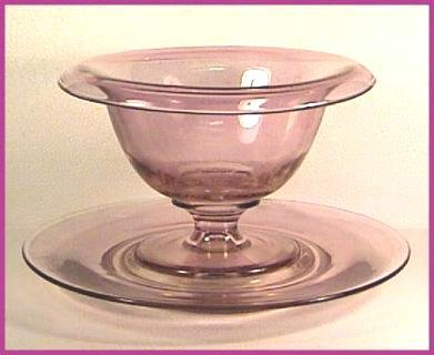 AMETHYST Flashed WHIP CREAM BOWL & UNDERPLATE