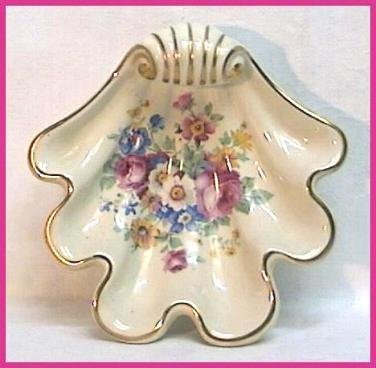 FLORAL Decorated SHELL SHAPED BOWL