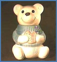 Vintage Metlox Smiling Bear with Sweater Cookie Jar