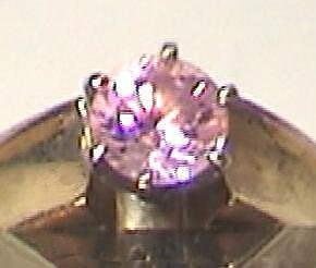14K Gold Pink Ice Solitaire Ring 14kt