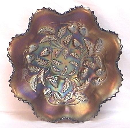 Northwood Amethyst Carnival Glass Strawberry Bowl