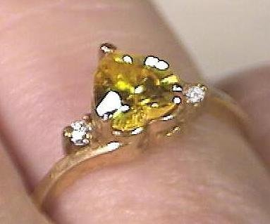 Golden Topaz 14KT Heart Ring with Diamonds 14 kt