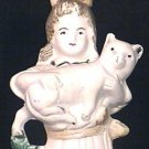 Bisque Girl with Kitten Cat Figurine Germany Circa 1890