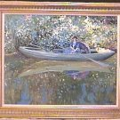 Oil on Canvas Impressionist Lady in Boat with Parasol