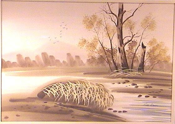 Framed Acrylic Landscape Painting Signed