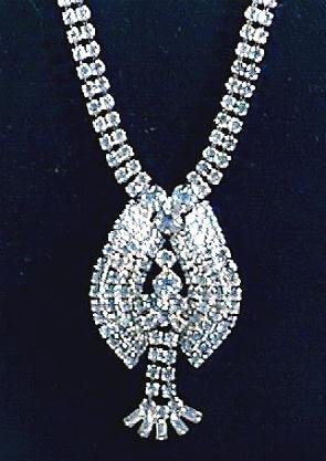 Blue Rhinestone Necklace with 3-D Drop