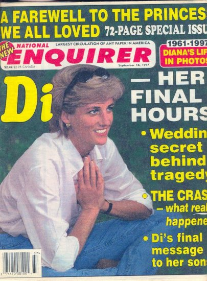 ENQUIRER Sept. 1997 FAREWELL TO DIANA