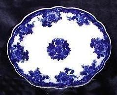 Three Flow Blue 'Waldorf' Platters New Wharf Pottery