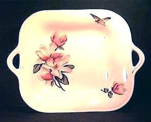 Staffordshire BUTTERFLY and FLORAL Handled DISH
