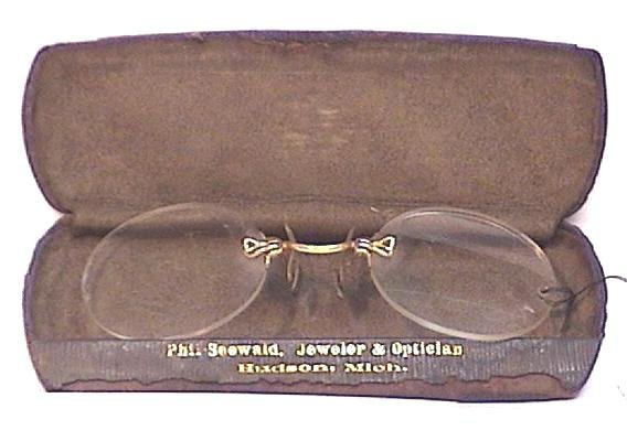 Stic-Tite Gold Plated Spectacles Circa 1890 with Case