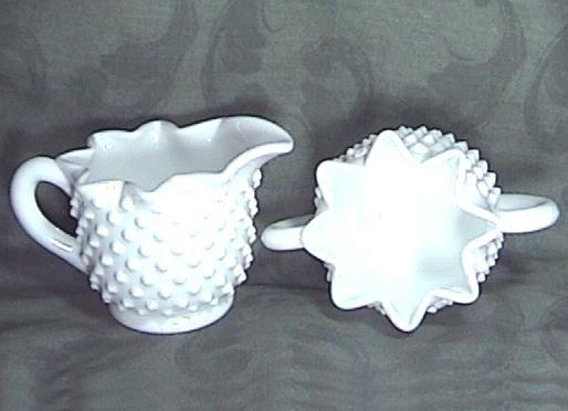 FENTON HOBNAIL STAR Milk Glass CREAMER SUGAR
