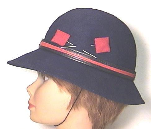 NAVY & RED WOOL School HAT