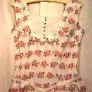 Women's HANDMADE Summer Dress Ca.1960 Organdy Pleats Rhinestone Buttons
