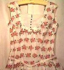 Women's HANDMADE Summer Dress Ca.1960 Organdy Pleats Rhinestone Buttons