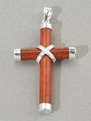 Red Jade & Sterling Silver Cross Pendant