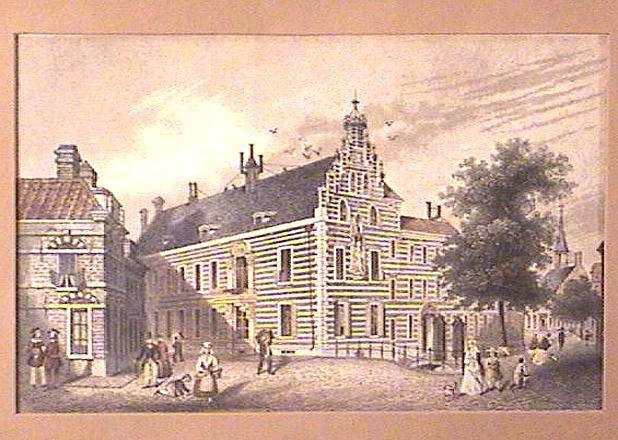 Framed ENGRAVING Ca.1850 MEETING HOUSE