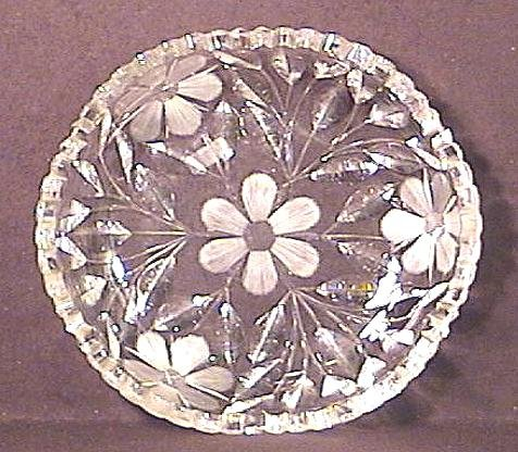 Cut Glass & Wheel Cut Shallow Bowl