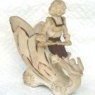 Match Holder Bisque Boy on Flower Chariot Figurine Planter