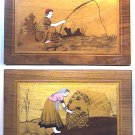 Handmade Wood and Ivory Inlay Picture Pair Farming Fishing Couple