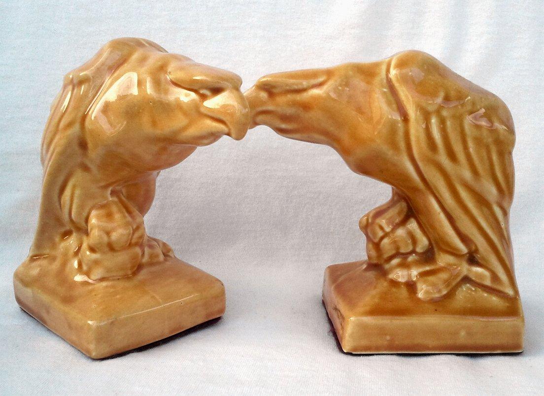 Vintage Ceramic Bookends - Eagles Clutching Skulls
