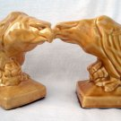 Vintage Ceramic Bookends - Eagles Clutching Skulls