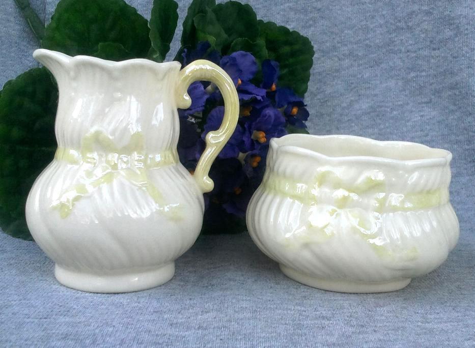 Belleek Porcelain Creamer and Open Sugar Bowl 'Ribbon' 3rd Green Mark