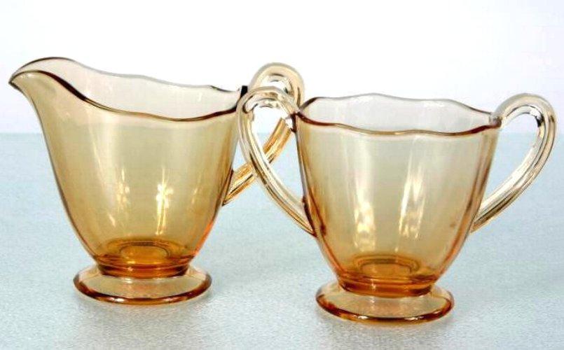 Fostoria 'Fairfax' Creamer & Sugar Amber Elegant Glass