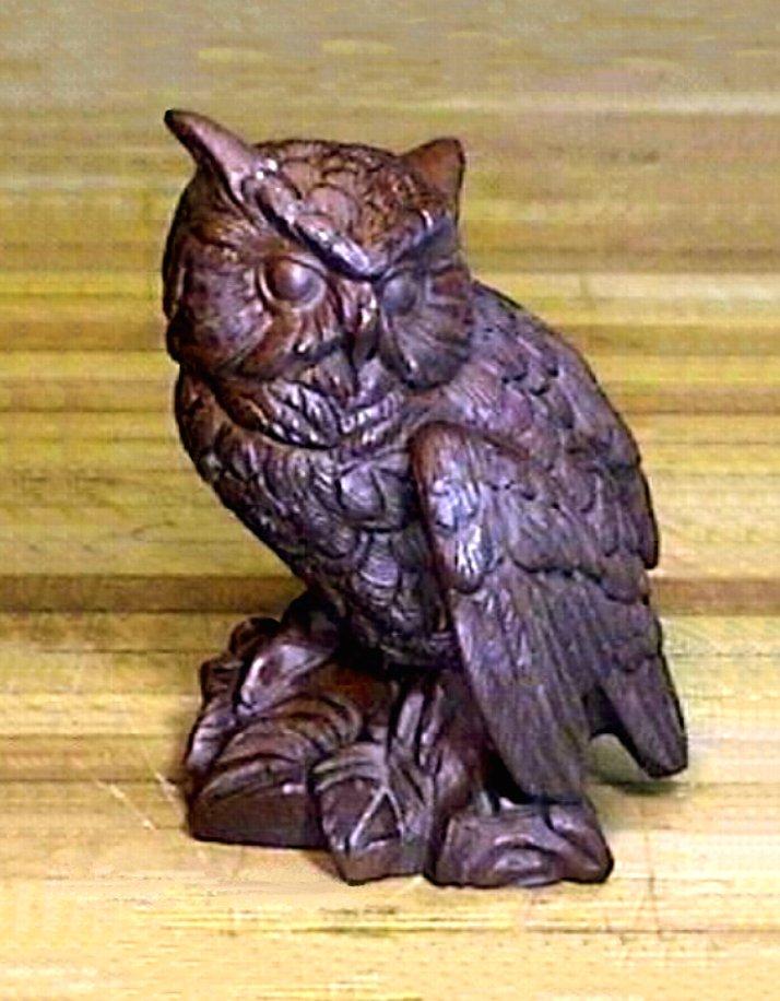 Vintage Wood Owl Figurine - Hand Crafted 4.5 Inch Figure