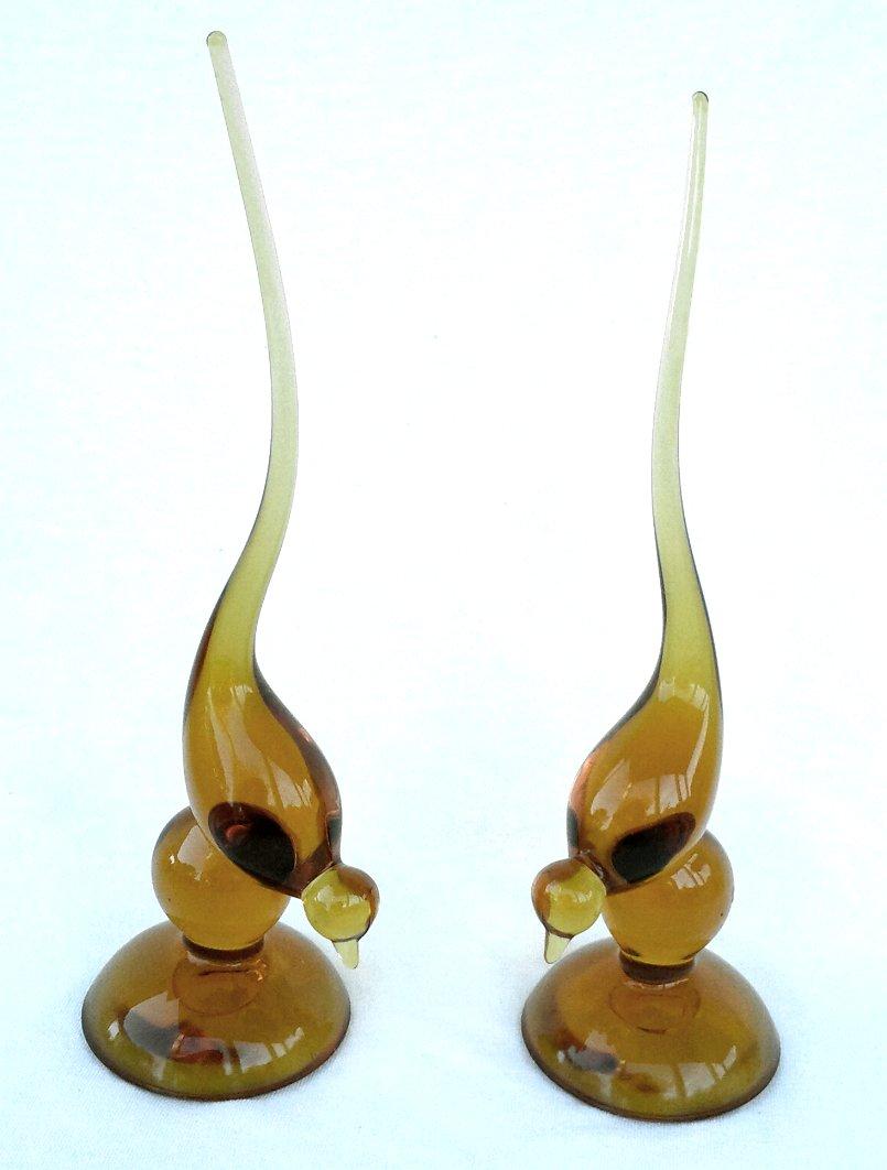 Viking Glass Mid-Century Long Tailed Bird Figurine Honey Amber
