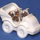 Souvenir Porcelain Automobile Gold Pigs in Car