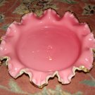 Cased Glass Center Bowl Circa 1900 Pink and White