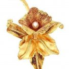 18 KT Gold Oro Cochano Orchid Brooch with Pearl - Estate Find