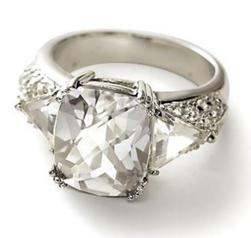 Sterling Silver 9.5 Carat Cubic Zirconia Three Stone Ring