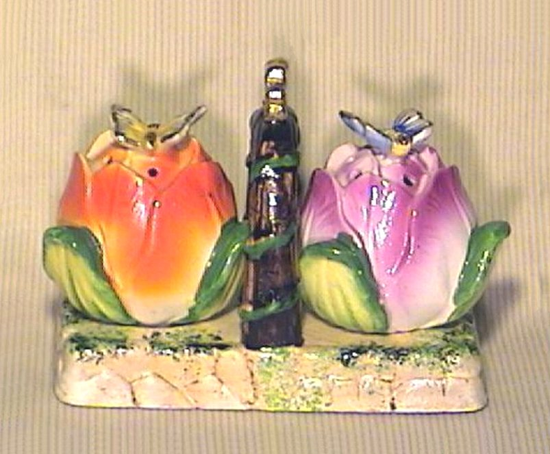 Rose Buds and Butterflies Salt & Pepper with Caddy Occupied Japan