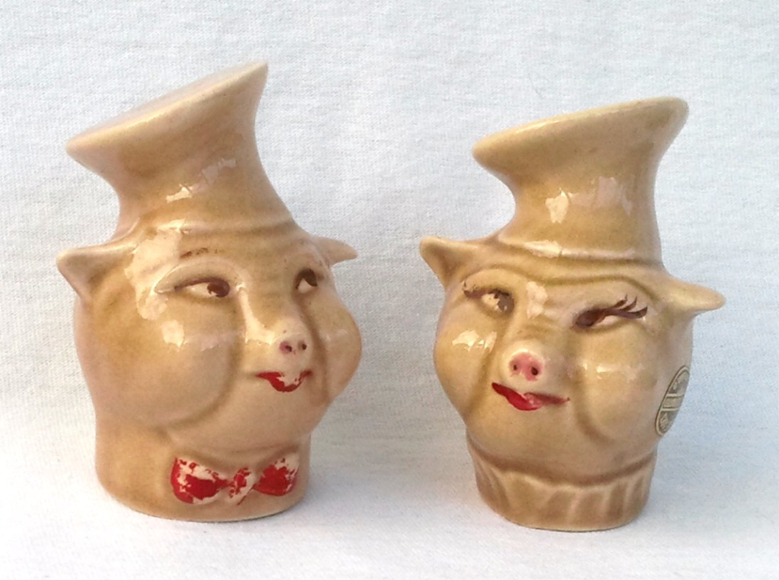 Figural Pig Chefs with Toque Hats Salt & Pepper Shakers