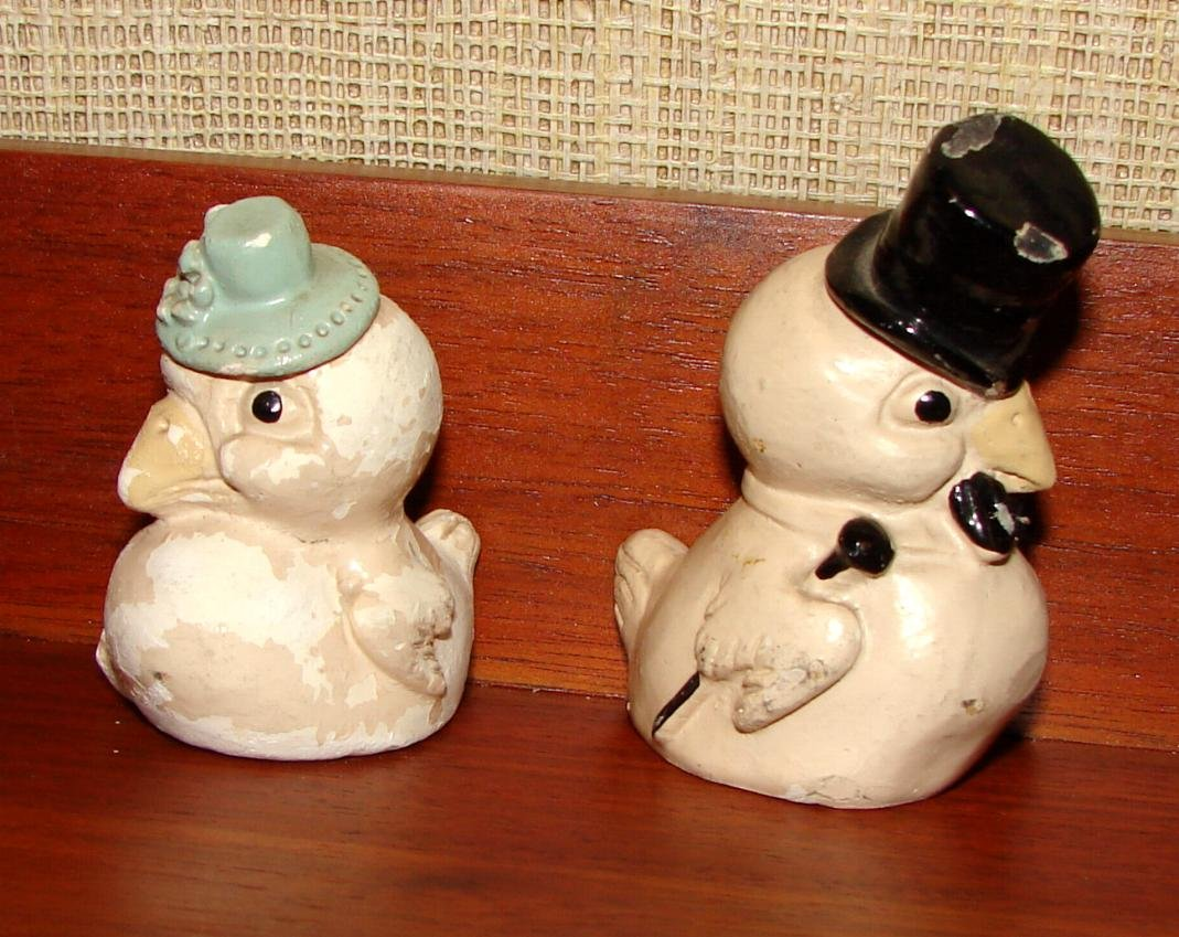Dressed Up Sparrows Chalk Salt Pepper Shakers Circa 1930s