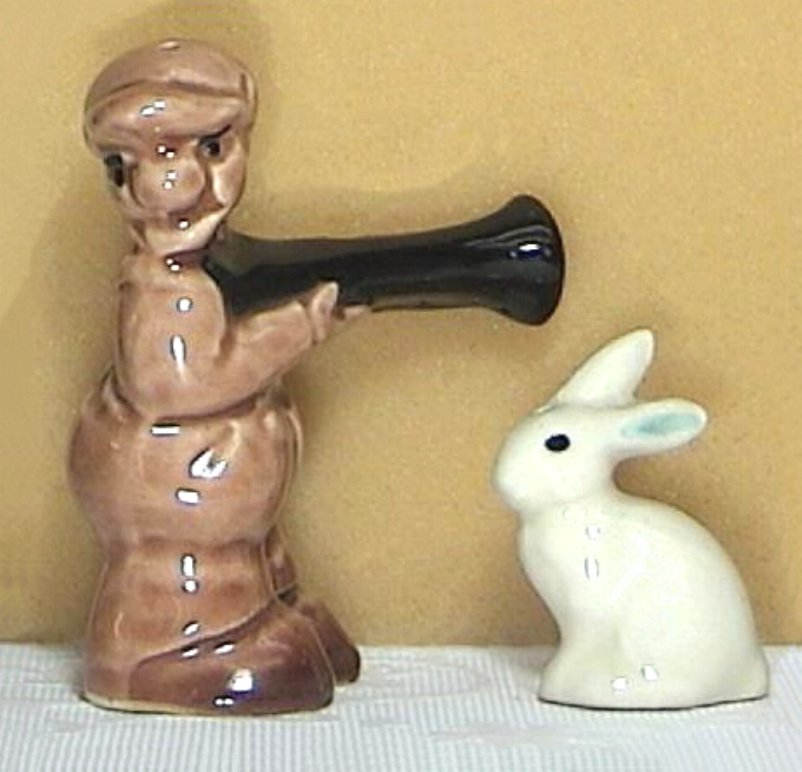 Hunter and Hare / Rabbit Go-With Salt & Pepper Shakers