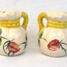 Hand Painted Flour Sacks Salt Pepper Shakers Circa 1940