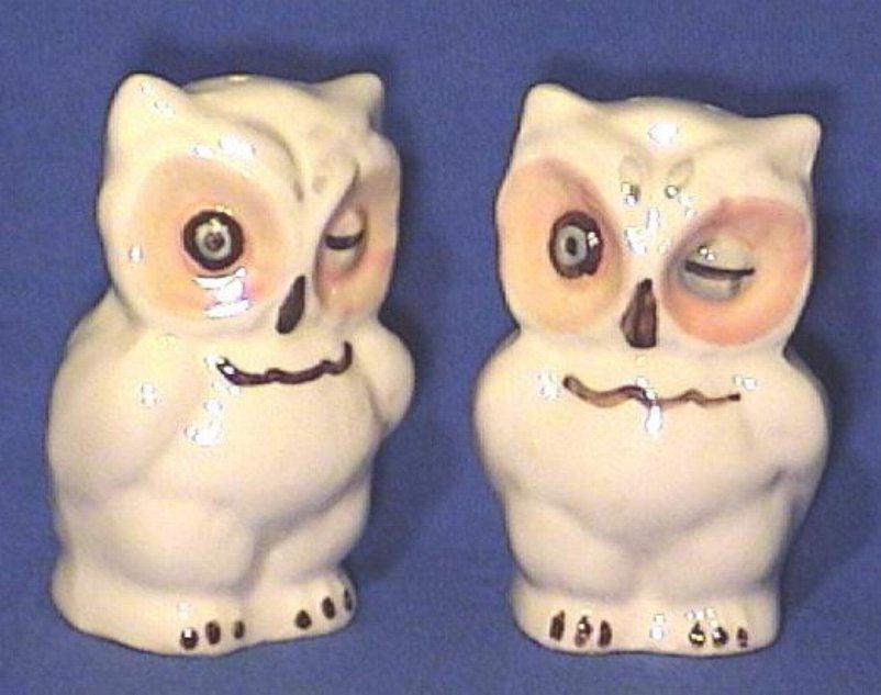Winking Owls Salt & Pepper Shakers Shawnee Pottery