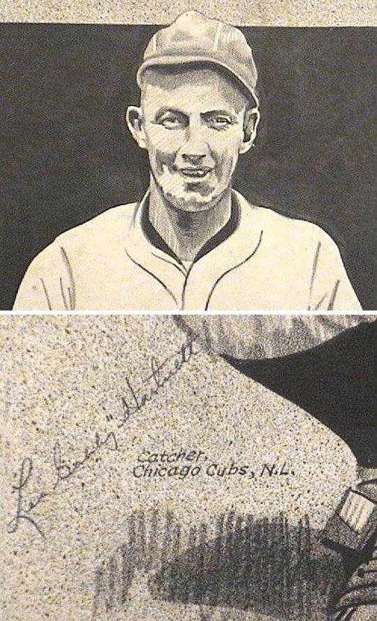 Gabby Hartnett 1933 Autograph On Pen & Ink Drawing Baseball Old Timer Chicago Cubs