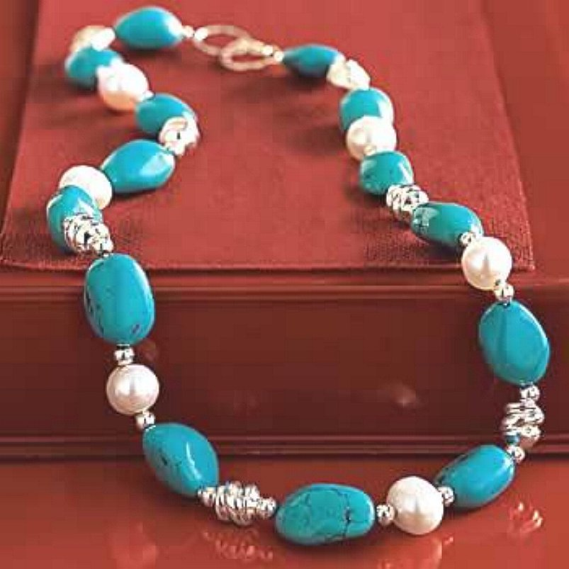 Cultured Pearl and Turquoise Nugget Sterling Silver Necklace New