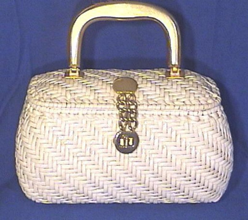 Vintage White Vinyl Wicker & Leather Handbag by Lewis