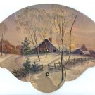 Advertising Paper Fan Winter Scene 1946