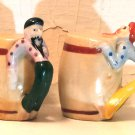 Drunken Hillbillies on Barrels Salt and Pepper Shakers